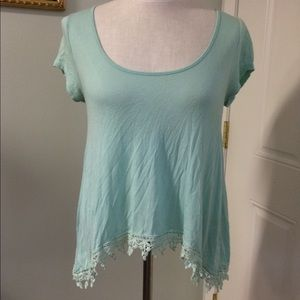 Aqua mint crochet lace swing asymmetrical top